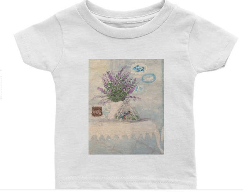 Original Art Baby Toddler Tee 6M-24M Top tshirt Shirt  Penny has a Crush chicken hen rooster Folk Painting Play Clothes Christmas gift
