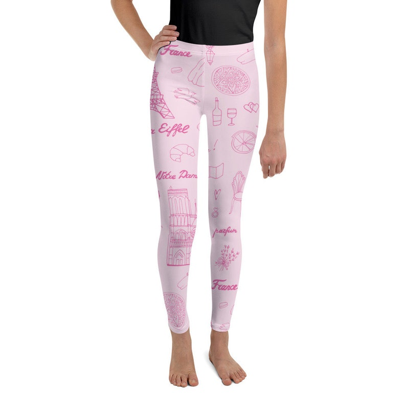 Youth Kids 8-20 Teen Leggings Tights Paris Leotard Pants Pink Eiffel Tower Notre Dame Artists Back to School First day