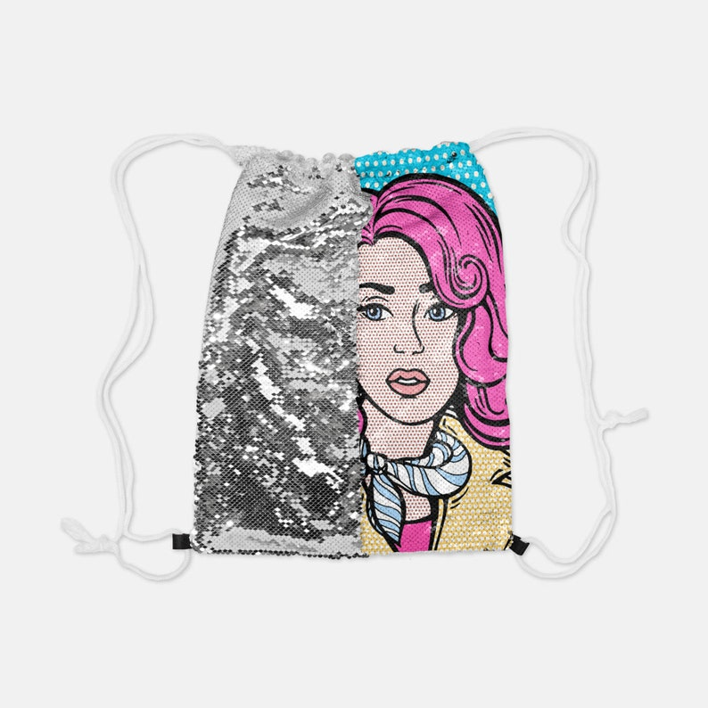 Rose Gold Sequin Reversible Drawstring Backpack Suzette Very Diva Poodle Pink French Poodles dog dogs Sequins Draw String School Party
