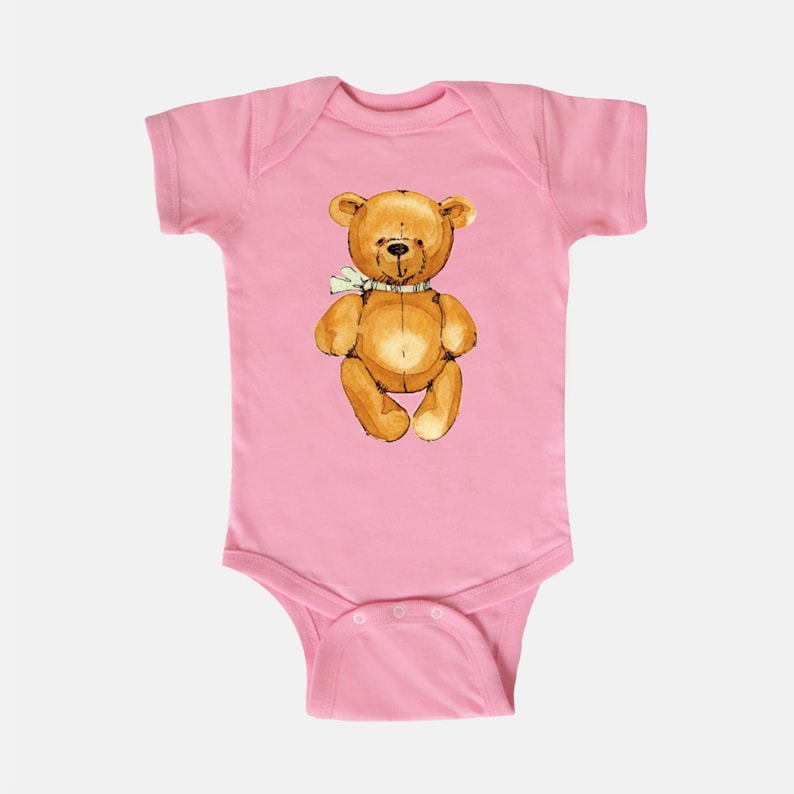 Baby Bodysuit one piece onesie Hunny Bear  Red Your Child/'s Name newborn infant New Mom Christening Shower Birthday mothers Bris clothing