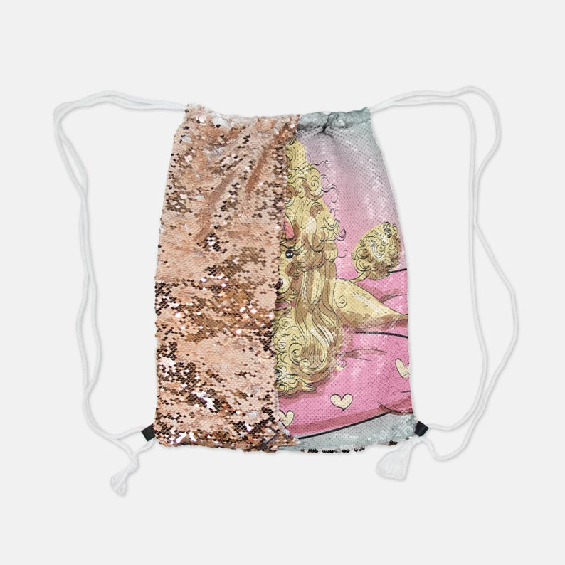 Silver Sequin Reversible Drawstring Backpack Suzette Very Diva Poodle Pink French Poodles dog dogs Sequins Draw String School Party