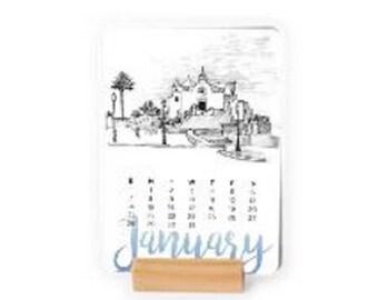 2018 Desk Calendar of landscape Sketches, easel calendar, Card Calendar with wooden stand, Christmas gift, Holiday Present