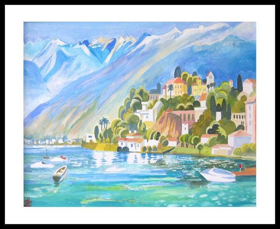Decor Art Print of original Acrylic painting Mountain View Lake landscape Seascape Cliff Village Switzerland Lago Maggiore Italy