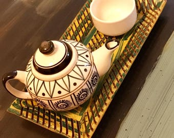 Wooden tray, hand-painted, Tea tray, serving tray