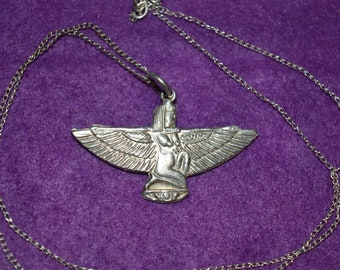 Magnifique Hand Made Egyptian Sterling Silver ailes Isis Pendentif