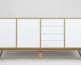 Drevutnia Modern Oak Wood Sideboard, Cupboard, Dresser,Mid-century Retro Scandinavian,