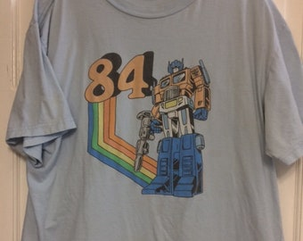 "Authentic Vintage Optimus Prime Transformers ""84"" T-Shirt Blue Large"