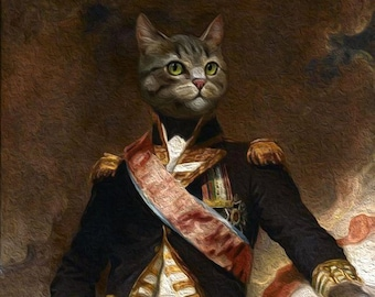 Royal pet portrait,Cat oil painting,Custom cat portrait,Cat painting original,Custom cat painting,Pet portrait painting,Painting from photo