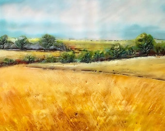 "Original, landscape, encaustic titled ""California Oaks""   / Artist Michele Bruchet"