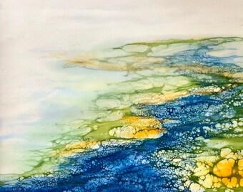 "Original, Encaustic, Landscape,  titled ""Waters Path""   / Artist Nikki Bruchet"