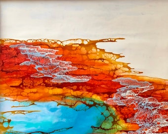 "Original, Encaustic, Landscape,  titled ""Rainbow Tide ""   / Artist Nikki Bruchet"