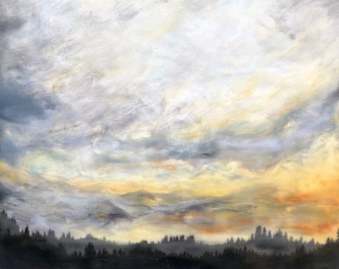 "Original, landscape, encaustic titled ""Golden Glow""   / Artist Michele Bruchet"