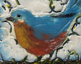 "Encaustic Bird painting, ""Barnyard Robin""  / Artist Michele Bruchet"