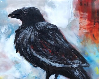 "Encaustic Bird painting, ""Fearless""  / Artist Michele Bruchet"