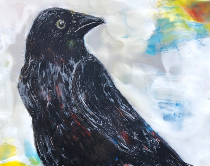 "Encaustic Bird painting, ""Mischievous""  / Artist Michele Bruchet"