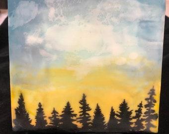"Encaustic ""Sunset Forest""  / Artist Michele Bruchet"