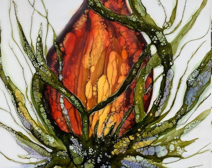 "Original, floral encaustic titled ""Blossom Study: No. 1""   / Artist Nikki Bruchet"