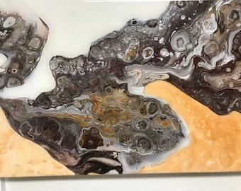 "Acrylic Pour, Rock, Fluid Art, titled ""Unearthed""   / Artist  Nikki Bruchet"