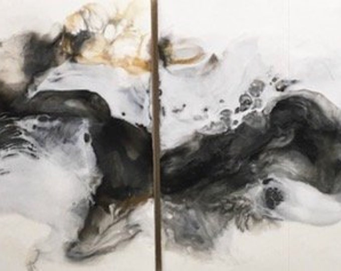 "Original, fluid, encaustic titled ""Motion""   / Artist Michele Bruchet"