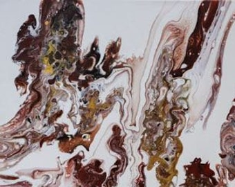 "Acrylic Pour, Organic, Fluid Art, titled ""Indian Summer""  / Artist Michele Bruchet"