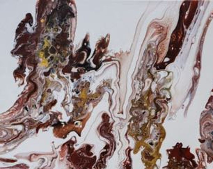 "Acrylic Pour, Organic, Fluid Art, titled ""Indian Summer""  / Artist Michele Bruchet"