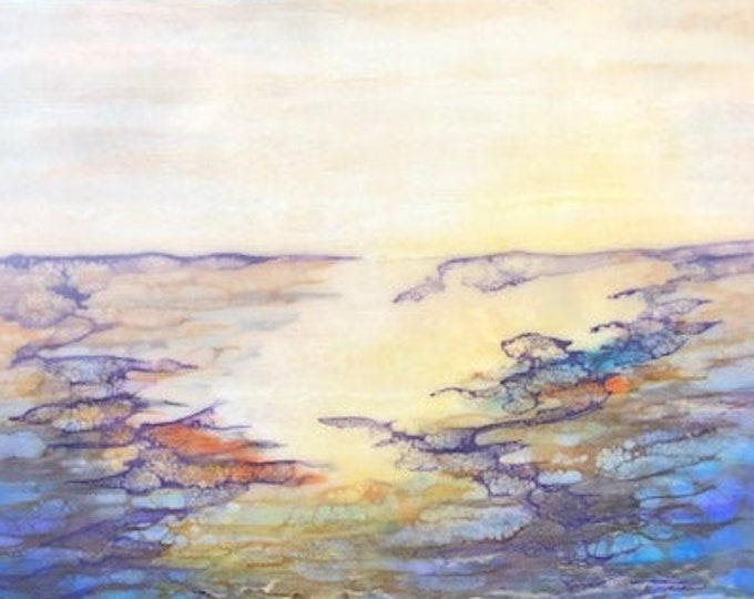 "Original, Encaustic, Landscape,  titled ""Purple Tide""   / Artist Nikki Bruchet"
