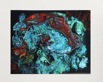 "Acrylic Pour, Space, Ocean, Fluid Art, titled ""Into the Abyss""   / Artist Michele and Nikki Bruchet"