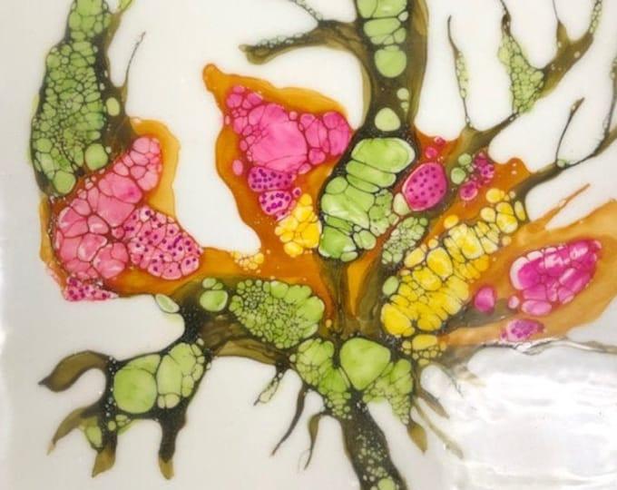 "Original, floral encaustic titled ""Carnivorous Flora # 3""   / Artist Nikki Bruchet"