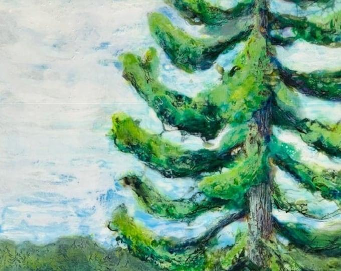 """Original, landscape, encaustic titled """"Eld Inlet""""   / Artist Michele Bruchet"""