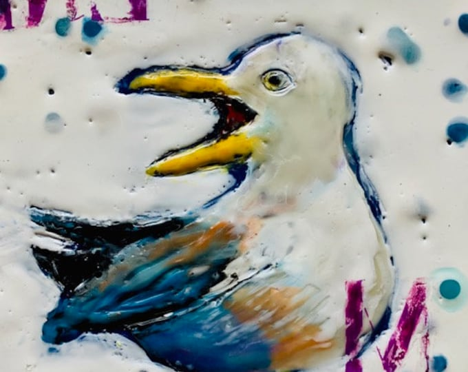 "Encaustic Bird painting, ""Mine""  / Artist Michele Bruchet"