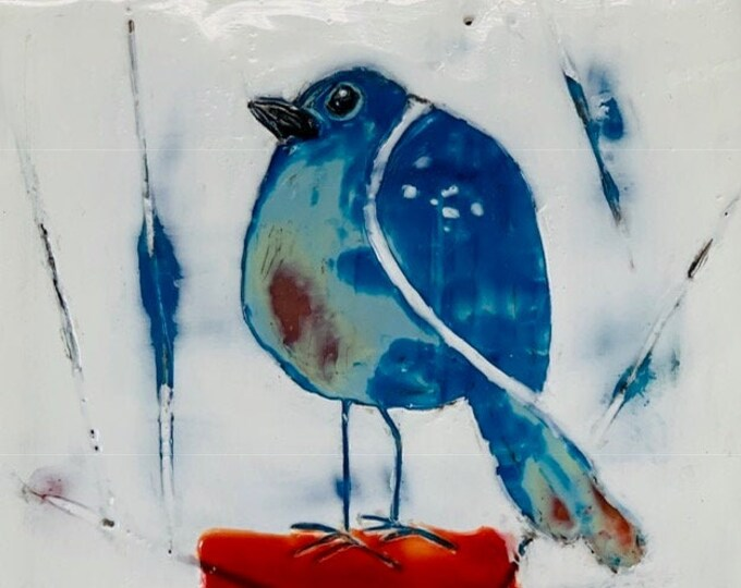 "Original encaustic titled ""Caged Bird""   / Artist Michele Bruchet"