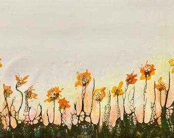 "Original encaustic titled ""Wildflower Field""/ Artist Nikki Bruchet"