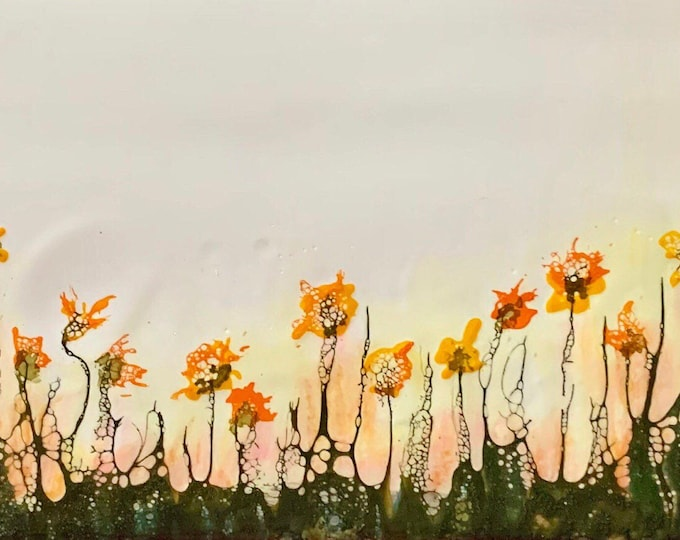 "Original encaustic titled ""Wildflower Field""/ Artist Nikki Bruchet"