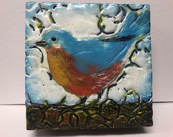 "Bird painting, ""Barnyard Robin""  / Artist Michele Bruchet"