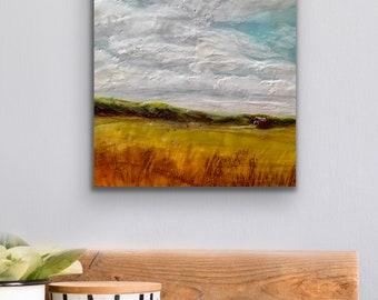 "Original, landscape, encaustic titled ""Field of Dreams""   / Artist Michele Bruchet"