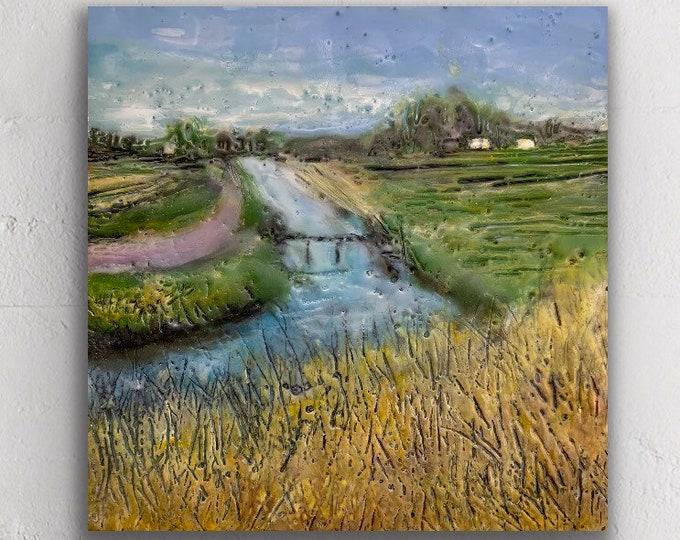 "Original encaustic titled ""Farmland waterways""/ Artist Michele Bruchet"