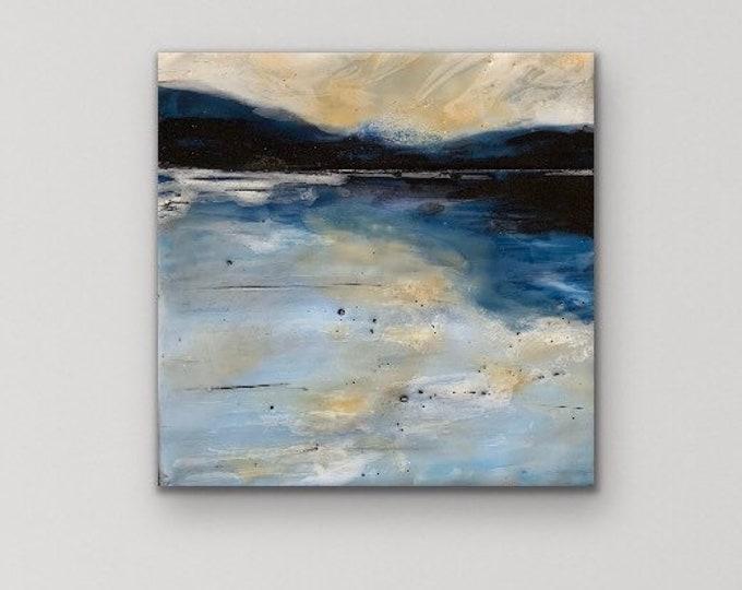 """Original, landscape, encaustic titled """"Mini landscape #1""""  / Artist Michele Bruchet"""