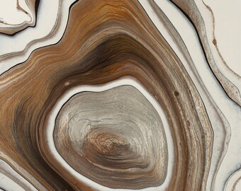 """Acrylic Pour, Organic, Geode, Tree Rings, Fluid Art, titled """"Rings of Life""""  / Artist Nikki Bruchet"""