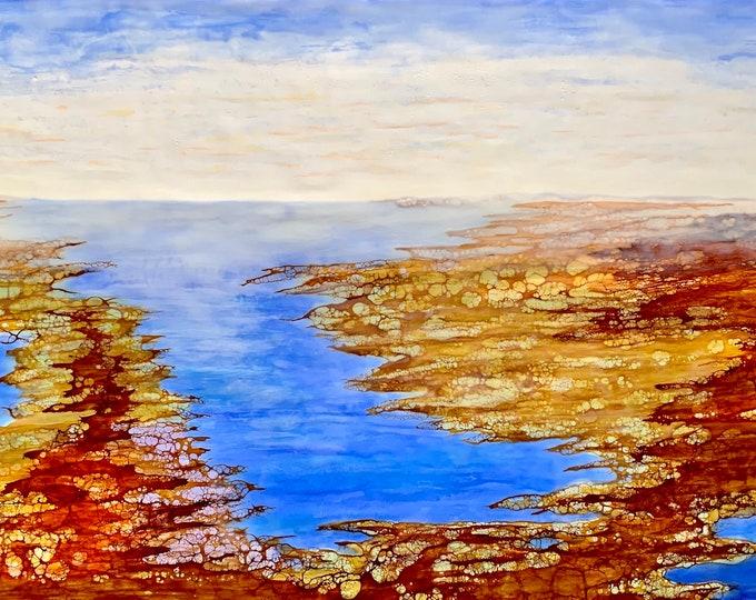 "Original, Encaustic, Landscape,  titled ""Autumn Tide""   / Artist Nikki Bruchet"