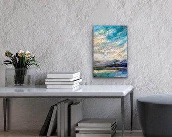 "Original, landscape, encaustic titled ""Blue Mountains Yonder""   / Artist Michele Bruchet"