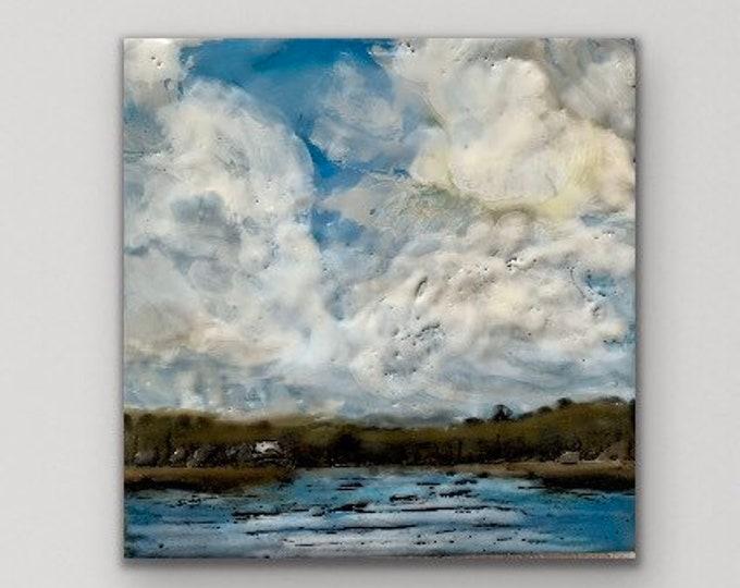 """Original, landscape, encaustic titled """"Mini landscape #15""""  / Artist Michele Bruchet"""