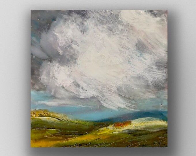 "Original encaustic titled ""Distant Rain""/ Artist Michele Bruchet"