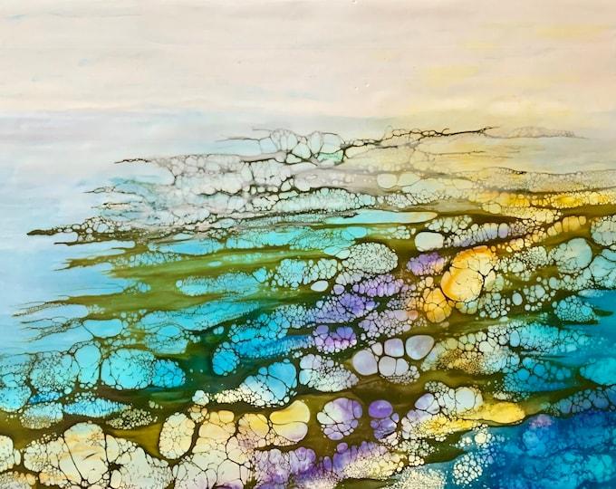 """Original, Encaustic, Landscape,  titled """"Spring Tide""""   / Artist Nikki Bruchet"""