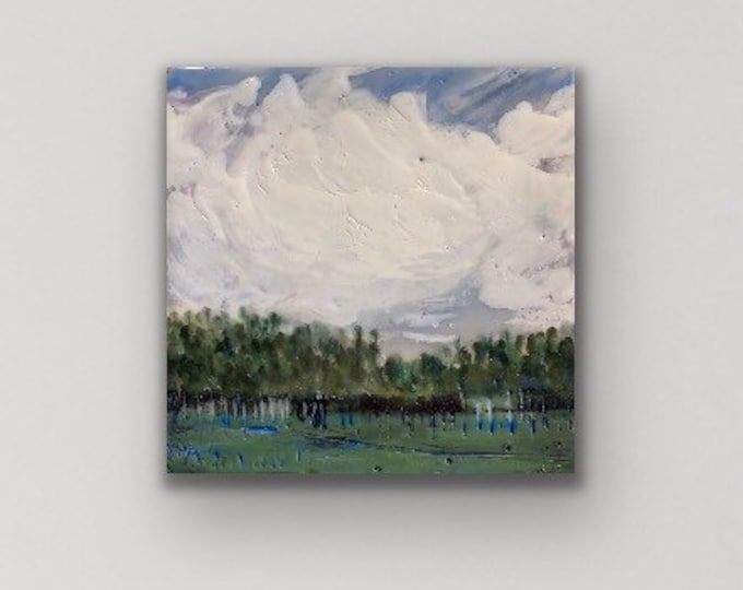 "Original encaustic titled ""Garden Grove"" / Artist Michele Bruchet"