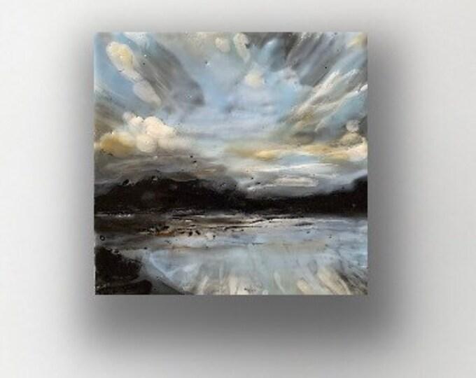 """Original, landscape, encaustic titled """"Mini landscape #14""""  / Artist Michele Bruchet"""