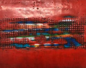 "Original encaustic titled ""Electric Highway""  / Artist Nikki Bruchet"