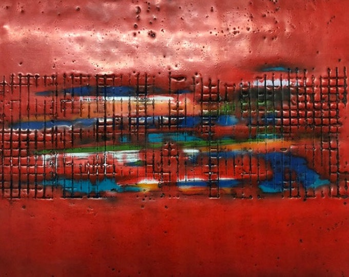"Original encaustic titled ""Electric Highway""  / Artist Nikki Bruchet"