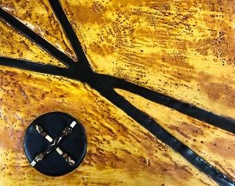 "Original encaustic titled ""Cave Etchings""  / Artist Nikki Bruchet"