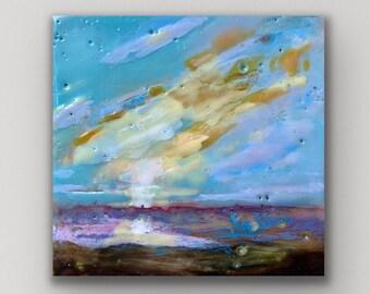 "Original encaustic titled ""Mini Sunset #7""/ Artist Michele Bruchet"