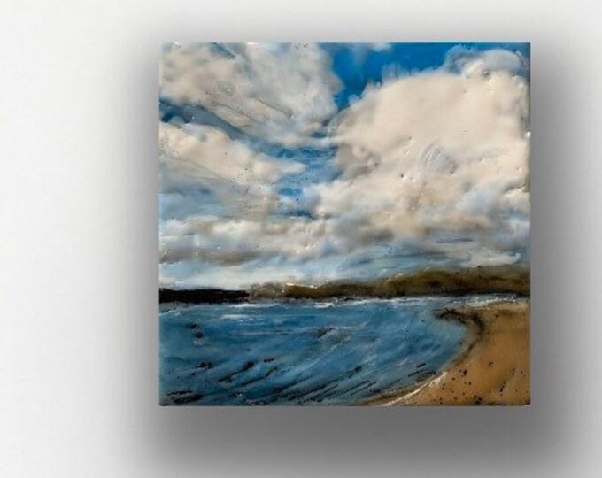 """Original, landscape, encaustic titled """"Mini landscape #8""""  / Artist Michele Bruchet"""